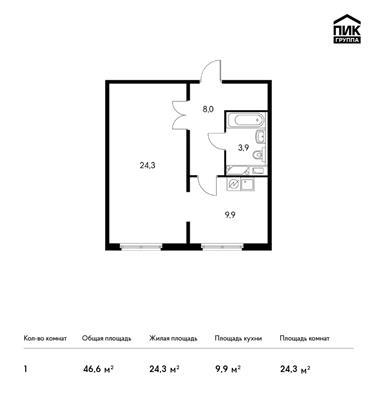 1-комн квартира, 46.6 м<sup>2</sup>, 22 этаж_1