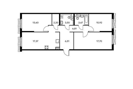 3-комн квартира, 82.28 м<sup>2</sup>, 2 этаж_1