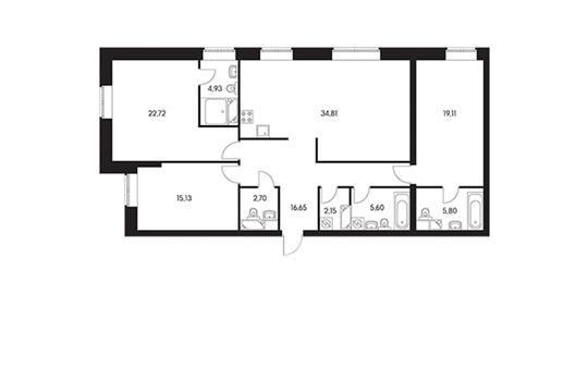 3-комн квартира, 131.5 м2, 1 этаж