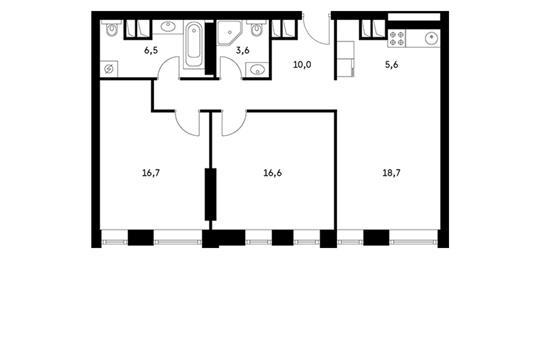 3-комн квартира, 78.8 м2, 9 этаж