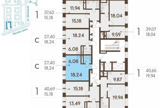 Студия, 27.4 м2, 14 этаж