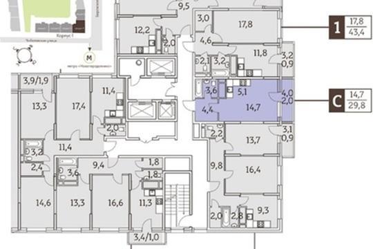 Студия, 29 м2, 20 этаж