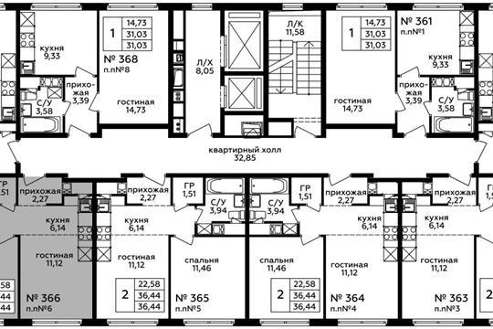 2-комн квартира, 36.44 м2, 22 этаж