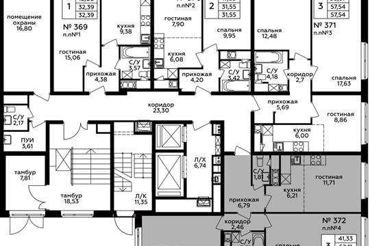 3-комн квартира, 62.11 м2, 1 этаж