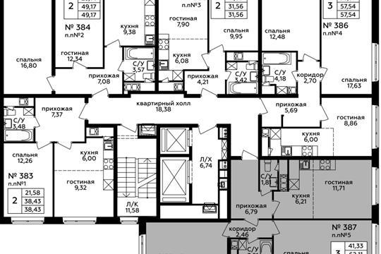3-комн квартира, 62.11 м2, 4 этаж