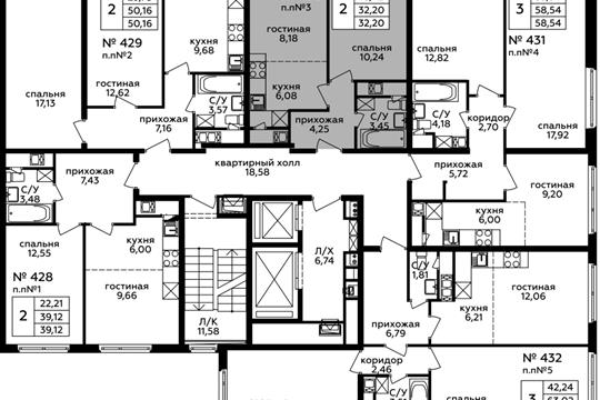 2-комн квартира, 32.2 м2, 13 этаж