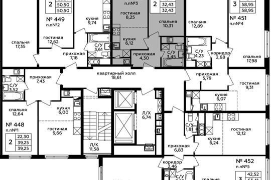 2-комн квартира, 32.43 м2, 17 этаж
