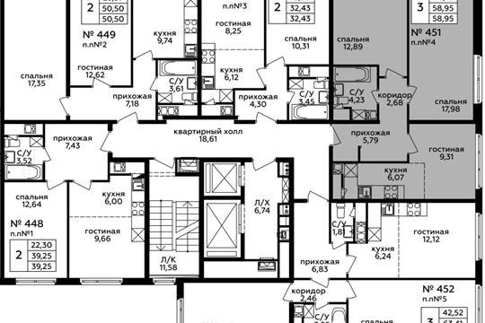 3-комн квартира, 58.95 м2, 17 этаж