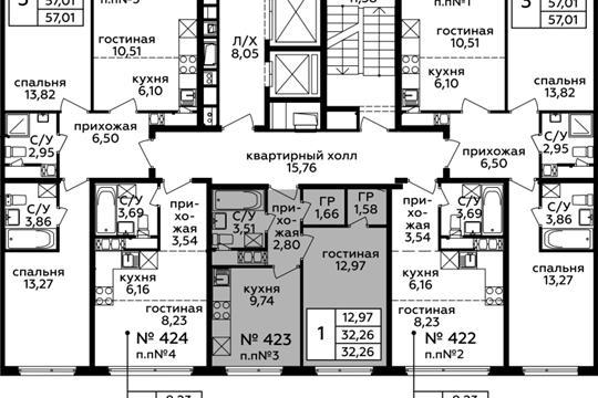 1-комн квартира, 32.26 м2, 20 этаж