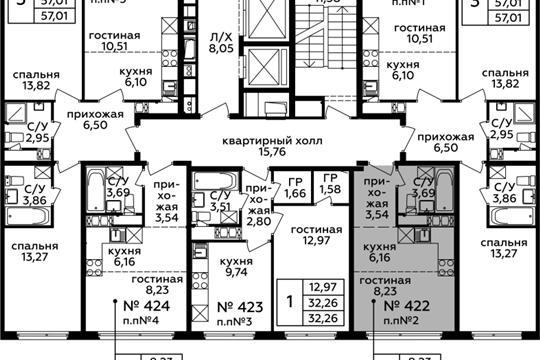 Студия, 21.62 м2, 20 этаж