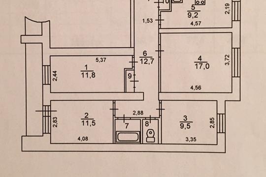 4-комн квартира, 80.7 м2, 7 этаж
