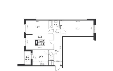 3-комн квартира, 84.4 м2, 7 этаж
