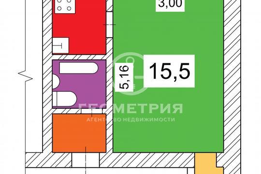 1-комн квартира, 24 м2, 3 этаж