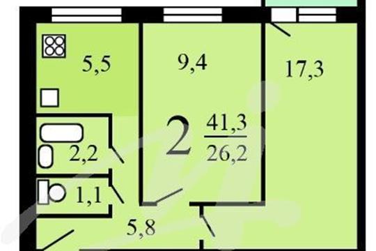 2-комн квартира, 41.3 м2, 6 этаж