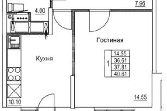 1-комн квартира, 40.73 м2, 18 этаж