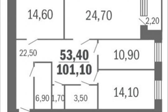 3-комн квартира, 96.6 м2, 5 этаж