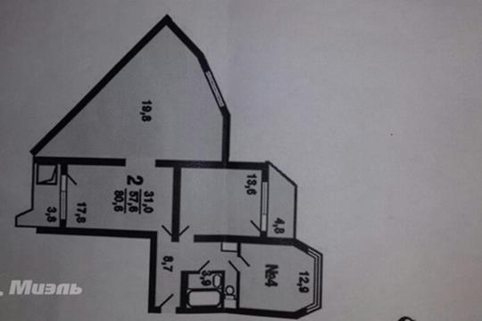 2-комн квартира, 59 м2, 8 этаж