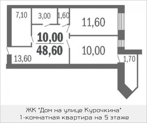 1-комн квартира, 48.6 м<sup>2</sup>, 5 этаж_1