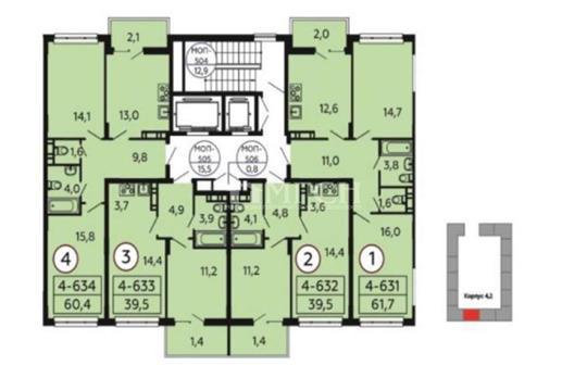 1-комн квартира, 39.5 м2, 11 этаж