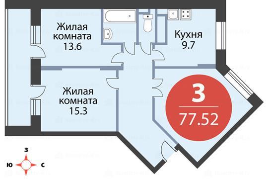 3-комн квартира, 76 м2, 6 этаж