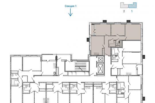 3-комн квартира, 69.3 м<sup>2</sup>, 13 этаж_1