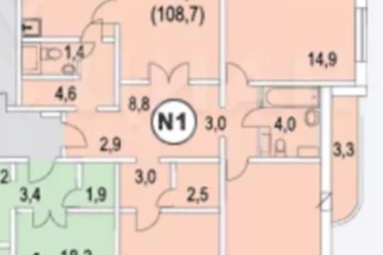 4-комн квартира, 107 м2, 23 этаж