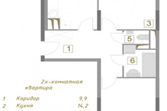 2-комн квартира, 64.7 м2, 2 этаж