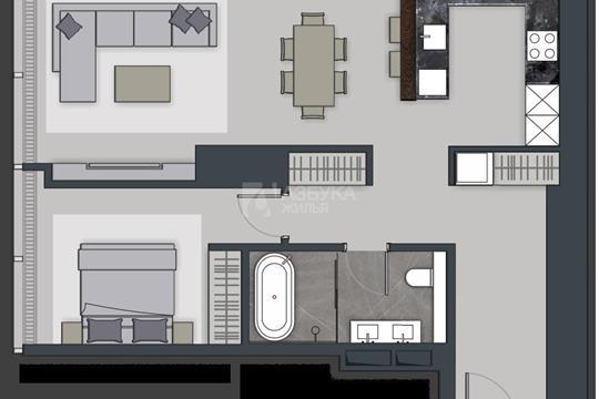 2-комн квартира, 69 м2, 28 этаж
