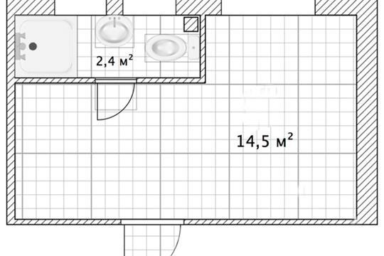Студия, 14.5 м2, 1 этаж
