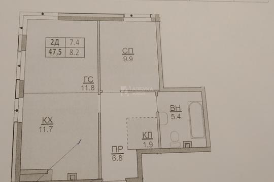 2-комн квартира, 47.5 м2, 2 этаж