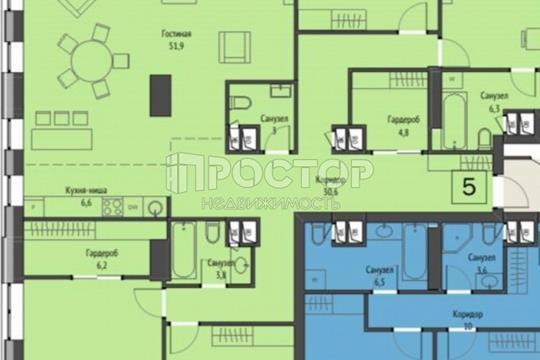 5-комн квартира, 180.9 м2, 4 этаж