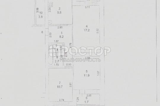 3-комн квартира, 69.1 м2, 2 этаж