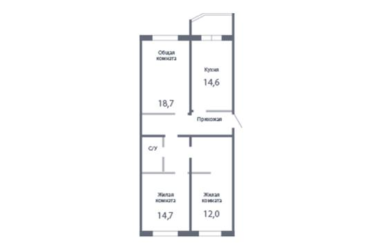 3-комн квартира, 91.9 м2, 23 этаж