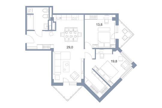 3-комн квартира, 83.8 м2, 21 этаж