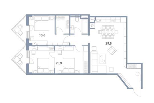 3-комн квартира, 91.6 м2, 16 этаж