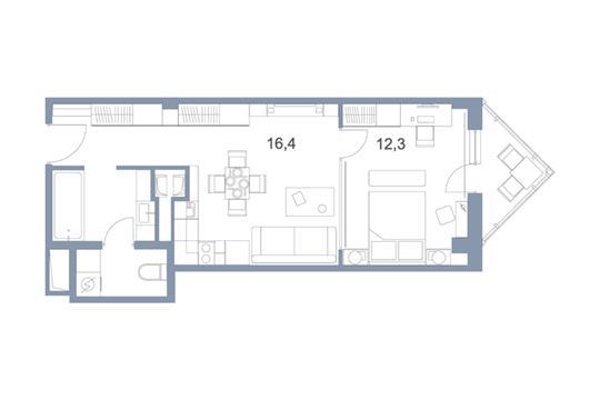 1-комн квартира, 43.9 м2, 25 этаж