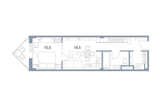 2-комн квартира, 44 м2, 11 этаж