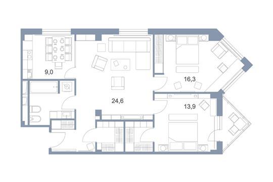 3-комн квартира, 90.4 м2, 25 этаж