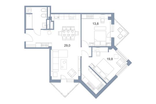3-комн квартира, 82.9 м2, 16 этаж