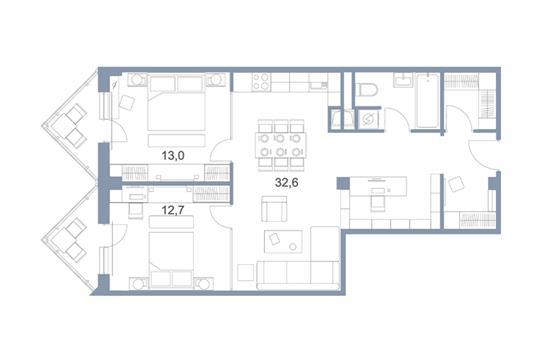 3-комн квартира, 80.5 м2, 24 этаж