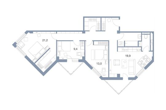 4-комн квартира, 102.2 м2, 22 этаж