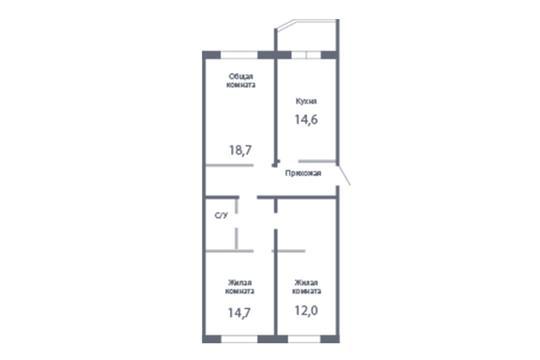 3-комн квартира, 91.9 м2, 22 этаж