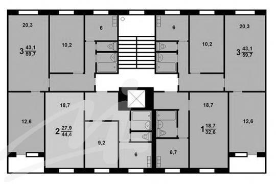 1-комн квартира, 34 м2, 3 этаж