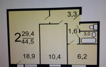 2-комн квартира, 45 м<sup>2</sup>, 9 этаж_1
