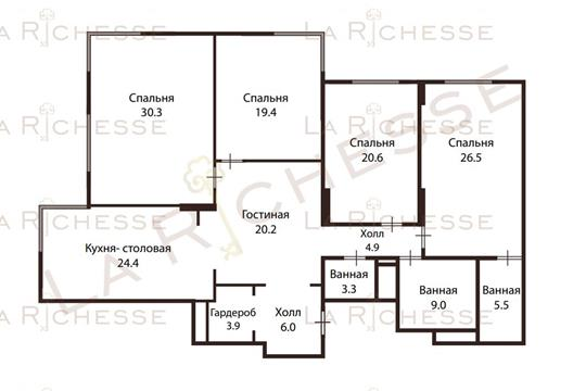 4-комн квартира, 200 м2, 2 этаж