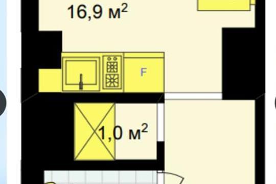 Студия, 16.9 м2, 1 этаж