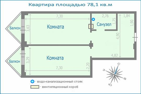 3-комн квартира, 78.1 м2, 2 этаж