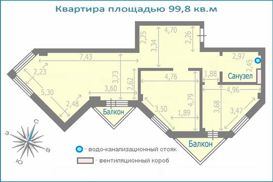 3-комн квартира, 99.8 м2, 2 этаж