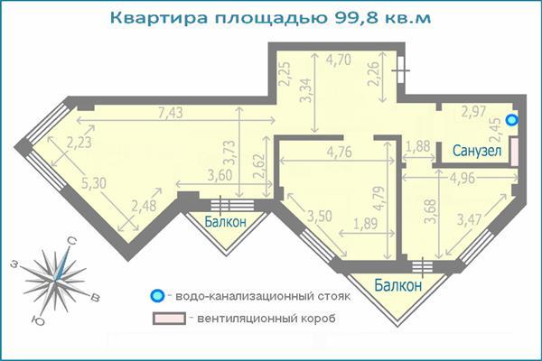 3-комн квартира, 99.8 м2, 13 этаж - фото 1
