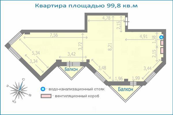 3-комн квартира, 99.8 м2, 22 этаж - фото 1